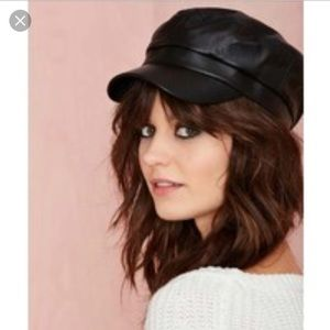 Nasty gal newsboy faux leather hat NWT